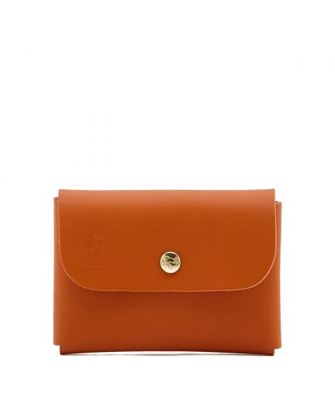 Card Case in Cowhide Double Leather color Orange - SCC032