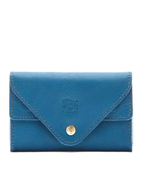 Card Case in Cowhide Leather color Blue Teal - Uffizi line SCC039