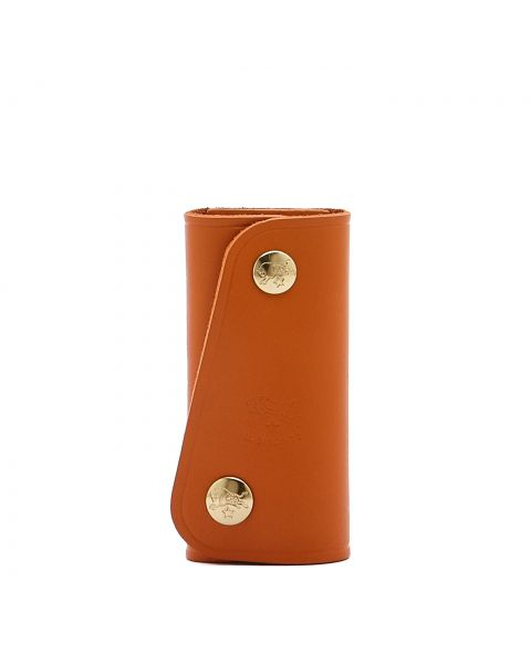 Keyring in Cowhide Double Leather color Orange - SKH011