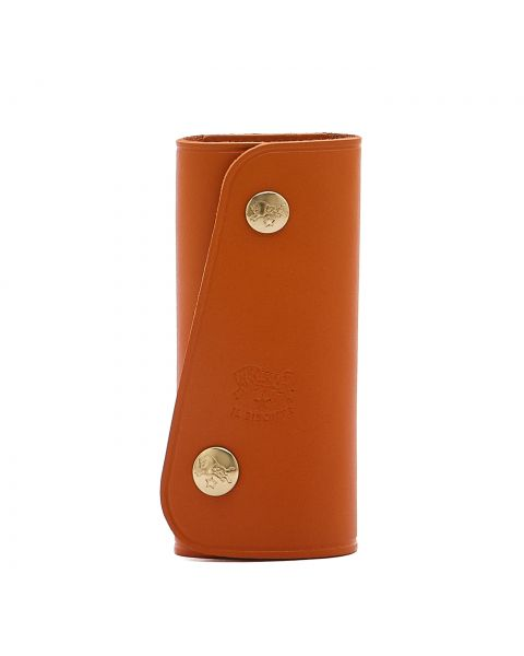 Keyring in Cowhide Double Leather color Orange - SKH026