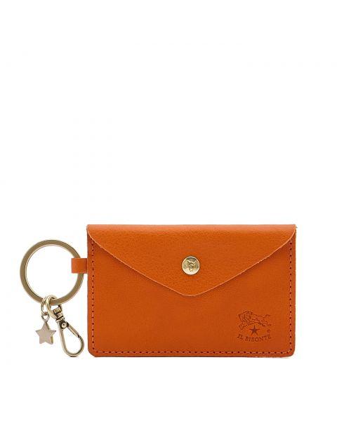 Scarlino - Porta Chiavi da Donna in Doppia Pelle Di Vacchetta colore Arancione - SKH042