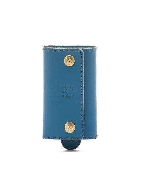 Keyring in Cowhide Double Leather color Blue Teal - SKH045